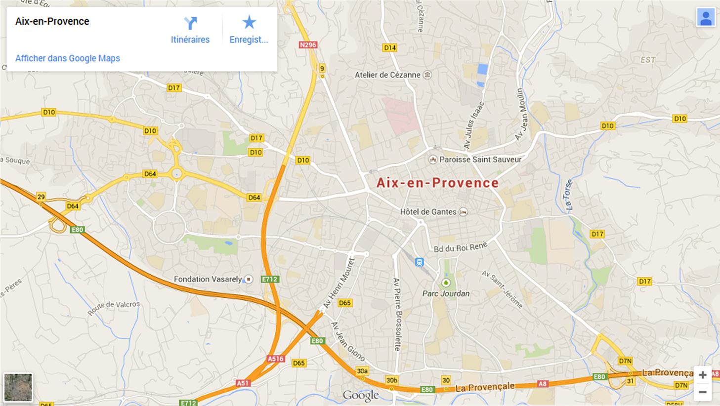 Google Map<span>Aix en Provence</span>