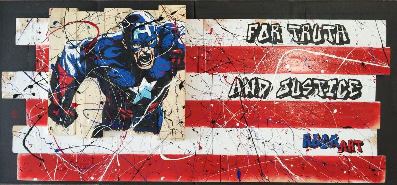 Peinture sur palissade Captain America