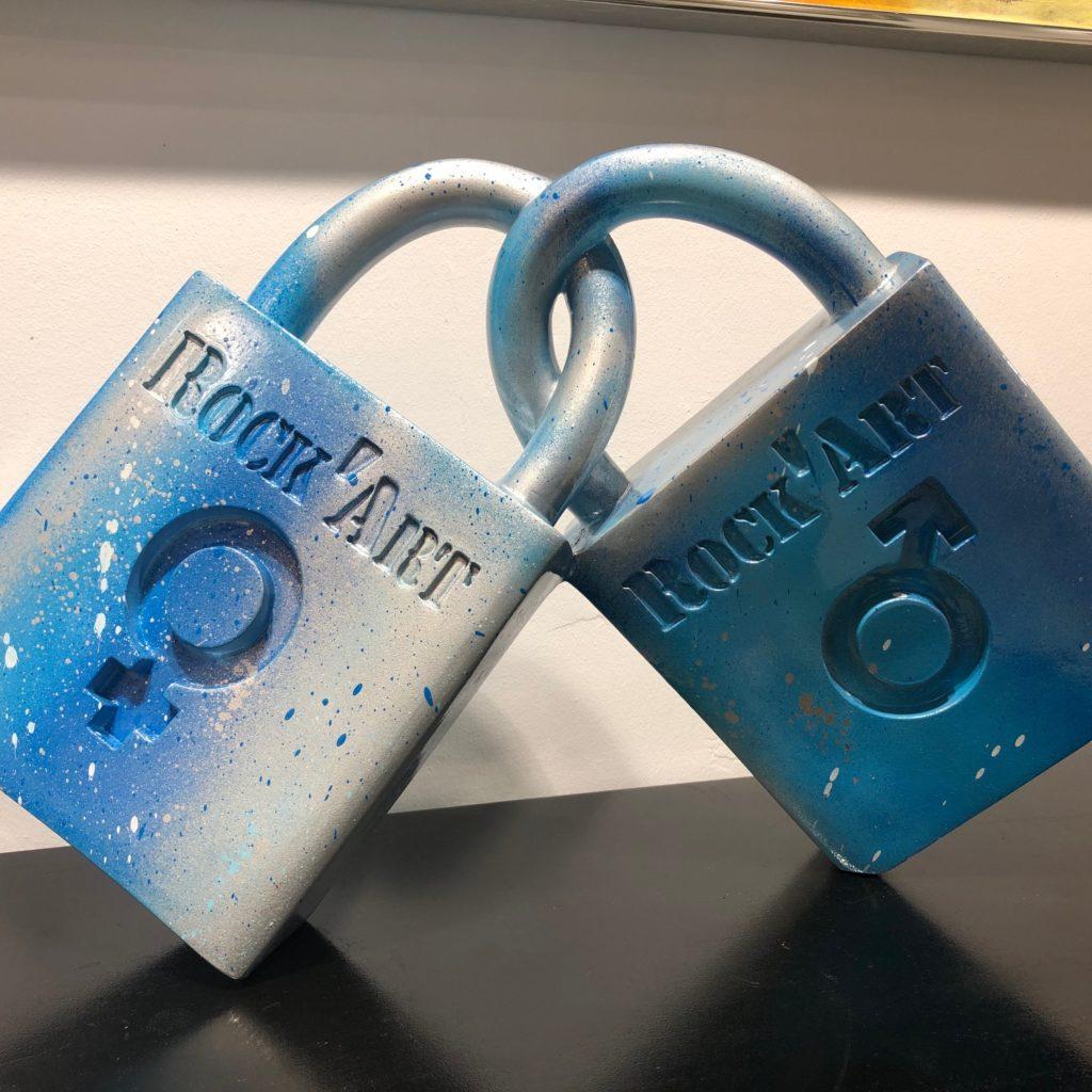 Cadenas d'aour graffés bleu et argent - 50 cm